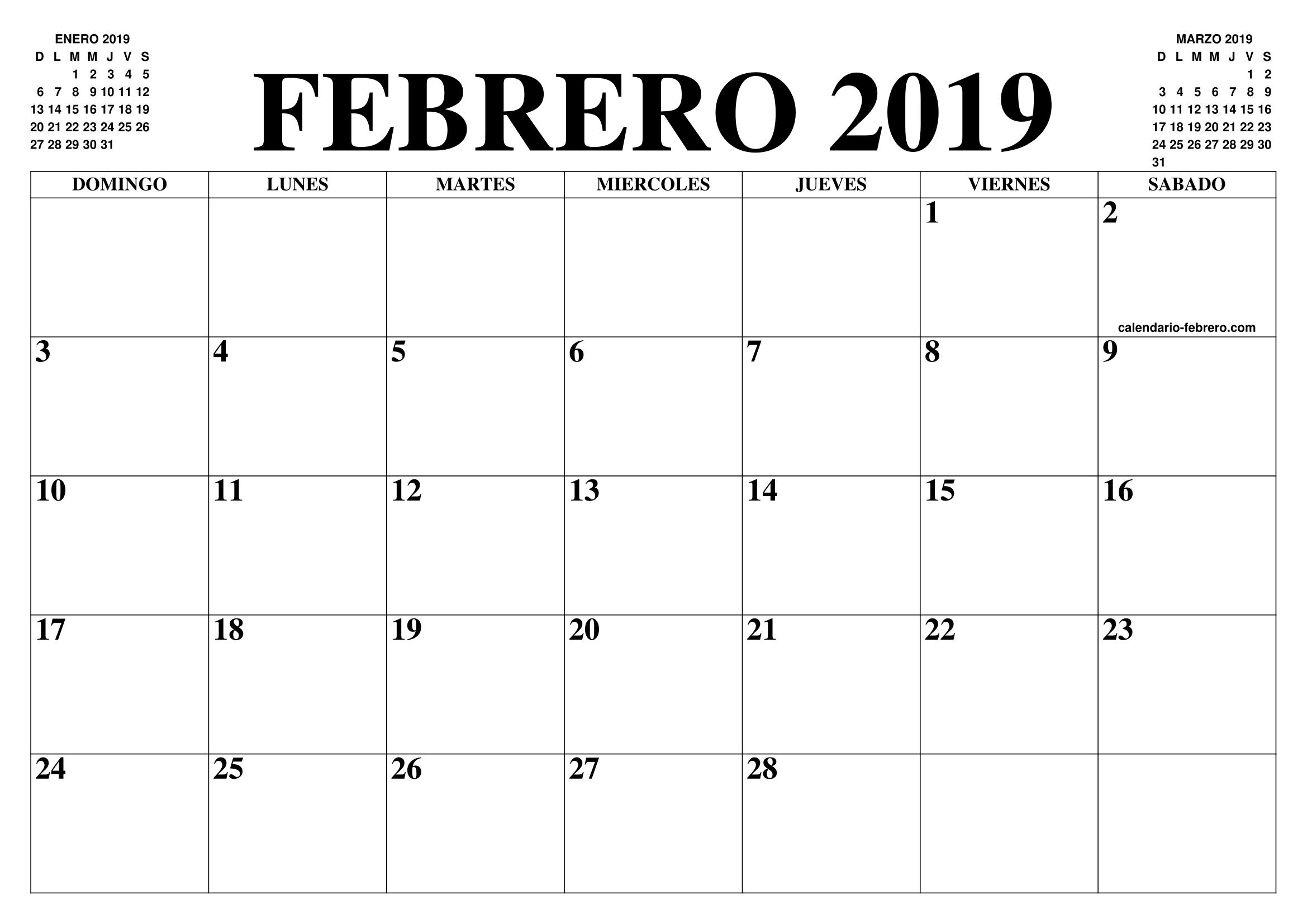 Calendario Imprimir Abril 2019.Calendario Febrero 2019 2020 El Calendario Febrero 2019 2020