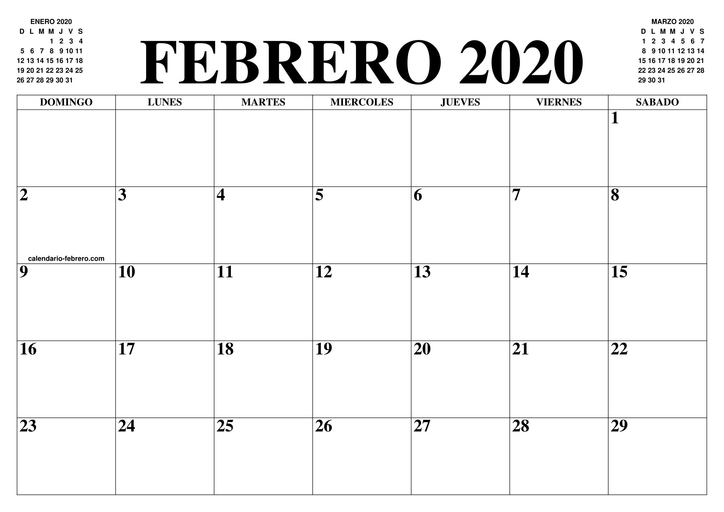 Calendario Febrero 2020 Para Imprimir Pdf.Calendario Febrero 2020 El Calendario Febrero Para